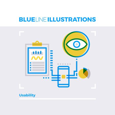 Blue line illustration concept of usability development and testing, technical information. Premium quality flat line image. Detailed line icon graphic elements with overlay and multiply color forms.