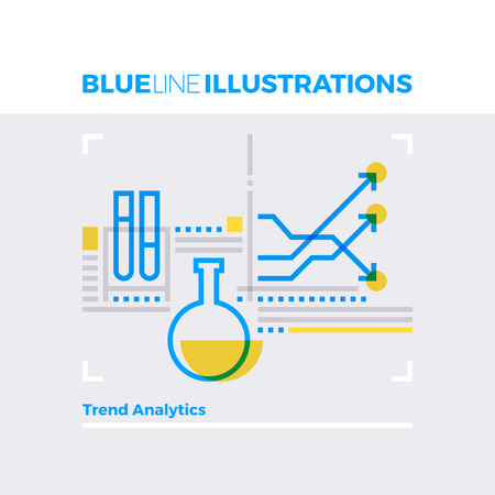 business: Blue line illustration concept of trend analytics, market research and statistical index. Premium quality flat line image. Detailed line icon graphic elements with overlay and multiply color forms.