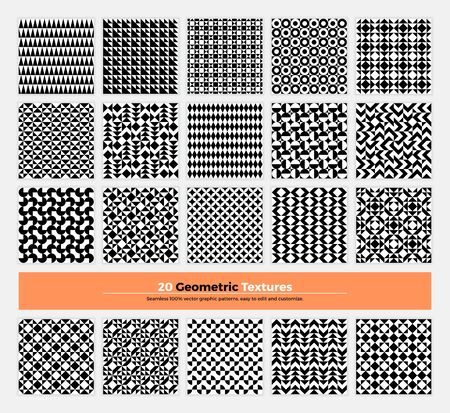 repetition: geometric texture pack of 20 abstract geometry pattern background. Modern minimalistic clean design with  shapes and forms collection for branding, presentation, web, print, decoration. Illustration