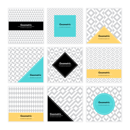 contemporary: Geometric pattern background. Square card with clean design and geometry texture. Vector abstract decoration with minimalistic seamless shapes and forms for brand, presentation, web, print, package.