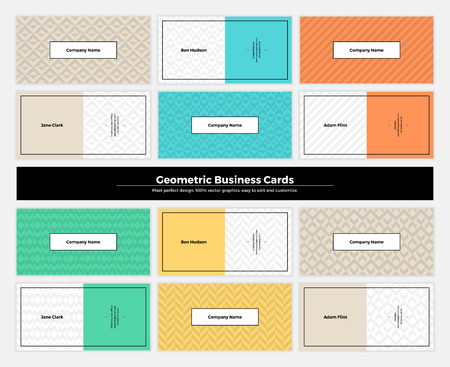 repetition: Geometric business cards with pattern background. Modern clean design geometry texture. Vector abstract branding kit with minimalistic seamless shapes for brand, presentation, web, print, package. Illustration