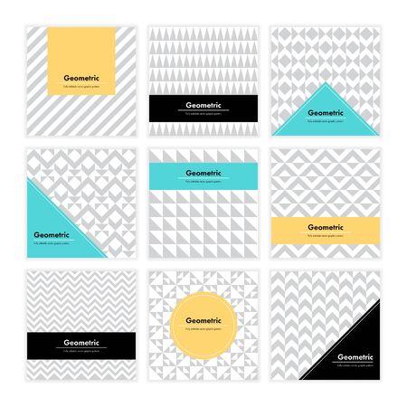forme: Géométrique motif de fond. carte carrée avec un design épuré et de la géométrie texture. Vector abstract décoration avec des formes minimalistes et formes pour la marque, la présentation, web, print, package.