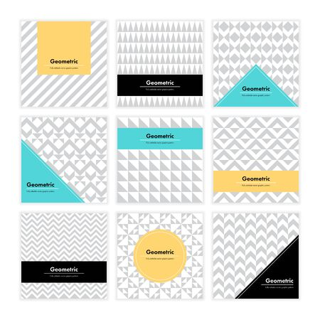 contemporary: Geometric pattern background. Square card with clean design and geometry texture. Vector abstract decoration with minimalistic  shapes and forms for brand, presentation, web, print, package.