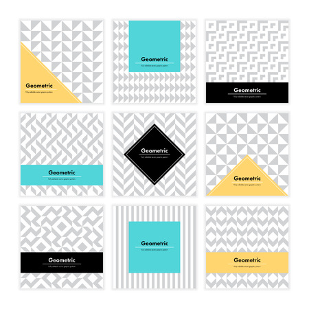 layout: Geometric pattern background. Square card with clean design and geometry texture. Vector abstract decoration with minimalistic seamless shapes and forms for brand, presentation, web, print, package.