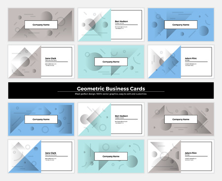 repetition: Geometric business cards with pattern background. Modern clean design geometry texture. Vector abstract branding kit with minimalistic shapes for brand, presentation, web, print, package.