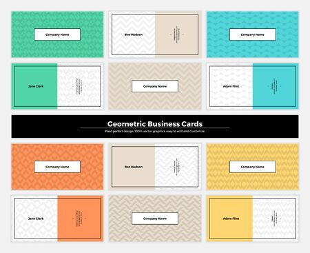 contemporary: Geometric business cards with pattern background. Modern clean design geometry texture. Vector abstract branding kit with minimalistic shapes for brand, presentation, web, print, package.