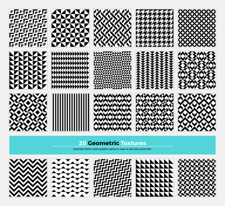 Vector geometric texture pack of 20 abstract geometry pattern background. Modern minimalistic clean design with  shapes and forms collection for branding, presentation, web, print, decoration.