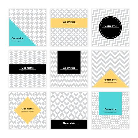 Geometric pattern background. Square card with clean design and geometry texture. Vector abstract decoration with minimalistic  shapes and forms for brand, presentation, web, print, package.