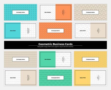 modern background: Geometric business cards with pattern background. Modern clean design geometry texture. Vector abstract branding kit with minimalistic seamless shapes for brand, presentation, web, print, package. Illustration