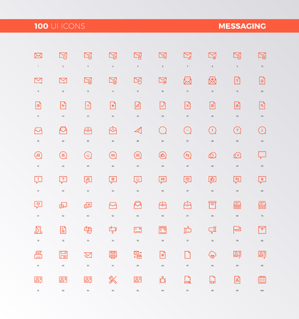 info: UI icons collection. Messaging and chatting elements. UX pictograms for user interface, web apps and business presentation. 32px simple line icons set. Premium quality symbols and sign web collection. Illustration