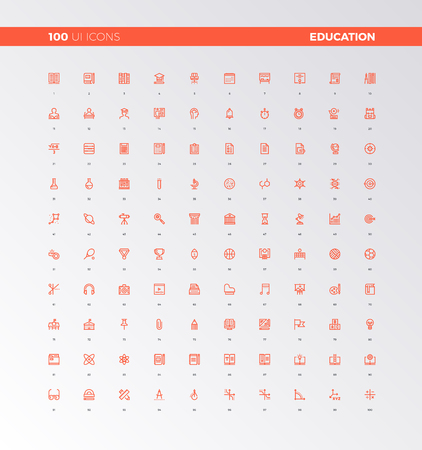 UI icons of school education and study process. UX pictograms for user interface design, web apps and business presentation. 32px simple line icons set. Premium quality symbols and sign web collection. Vettoriali