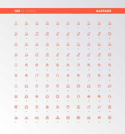 web: UI icons of human heads, people avatars. UX pictograms for user interface design, web apps and business presentation. 32px simple line icons set. Premium quality symbols and sign web logo collection.
