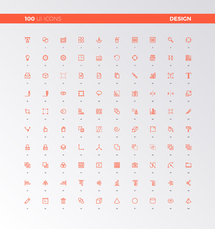 symbol: UI icons of web design elements, digital graphics tools. UX pictograms for user interface design, web apps and motion. 32px simple line icons set. Premium quality symbols and sign web logo collection.