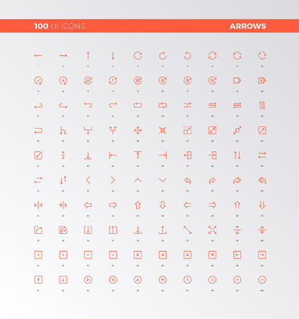 arrow icon: UI icons of arrows and button control elements. UX pictograms for user interface design, web apps and business presentation. 32px simple line icons set. Premium quality symbols and sign web collection. Illustration