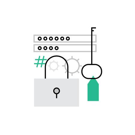 web: Modern icon of secured login password, authorized enter, web identification. Premium quality illustration concept. Flat line icon symbol. Flat design image isolated on white background.