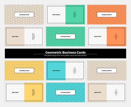 Geometric business cards with pattern background. Modern clean design geometry texture. abstract branding kit with minimalistic seamless shapes for brand, presentation, web, print, package.