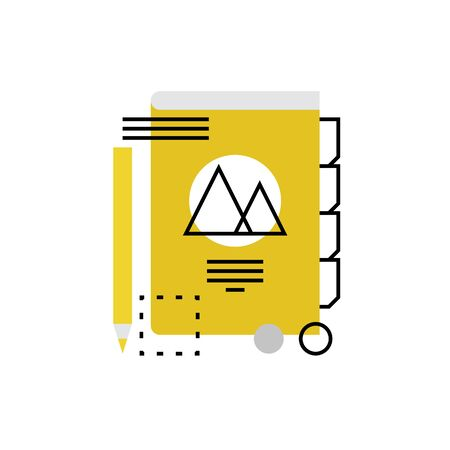 isolated: Modern icon of brand book layout, promo materials, editing and making notes. Premium quality illustration concept. Flat line icon symbol. Flat design image isolated on white background.