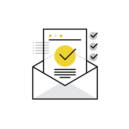 communication concept: Modern icon of confirmation letter, approved document and e-mail checklist. Premium quality  illustration concept. Flat line icon symbol. Flat design image isolated on white background.