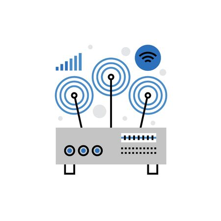 Modern icon of wifi router, wireless network connection and receiving signal. Premium quality  illustration concept. Flat line icon symbol. Flat design image isolated on white background. Illustration
