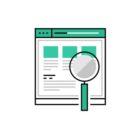 reviews: Modern icon of web product usability testing and search optimization. Premium quality illustration concept. Flat line icon symbol. Flat design image isolated on white background Illustration