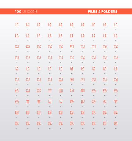 Ikony UI plików i folderów, elementów dokumentów. Piktogramy UX do projektowania interfejsów użytkownika, aplikacji internetowych i prezentacji biznesowych. 32px prosty zestaw ikon linii. Wysokiej jakości symbole i zbiór kolekcji stron internetowych.