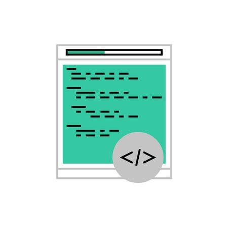 Modern icon of web coding, programming, terminal window with command code. Premium quality  illustration concept. Flat line icon symbol. Flat design image isolated on white background.