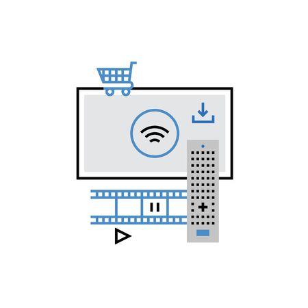 Modern icon of smart tv technology, online cinema, buying media content. Premium quality illustration concept. Flat line icon symbol. Flat design image isolated on white background.