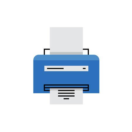 Modern icon of laser printer with document inside and printing service. Premium quality illustration concept. Flat line icon symbol. Flat design image isolated on white background. Illustration