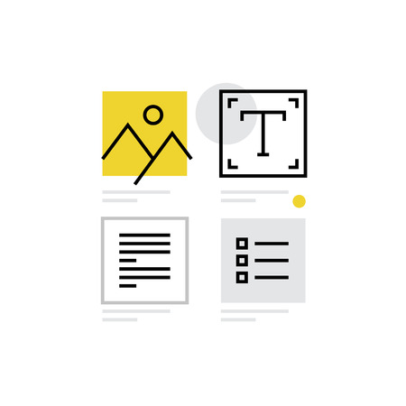 Modern icon of content design, graphic designer toolbar and website elements. Premium quality illustration concept. Flat line icon symbol. Flat design image isolated on white background.