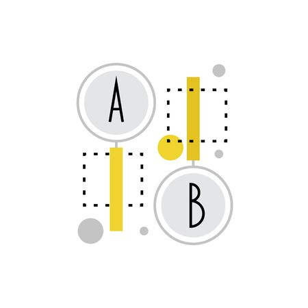 Modern icon of ab testing process, webpage solution comparison and check. Premium quality illustration concept. Flat line icon symbol. Flat design image isolated on white background.