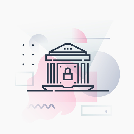Abstract illustration concept of digital bank security, online safety personal finances. Premium quality unique graphic design with modern line icon symbol and colored geometric shapes on background.