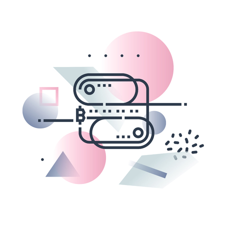 Abstract illustration concept of blockchain technology,distributed database structure. Premium quality unique design with icon symbol and colored shapes on background.