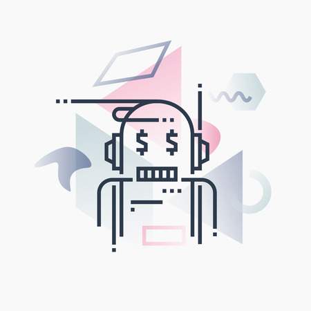 help: Abstract illustration concept of robo advisor, financial service artificial intelligence. Illustration