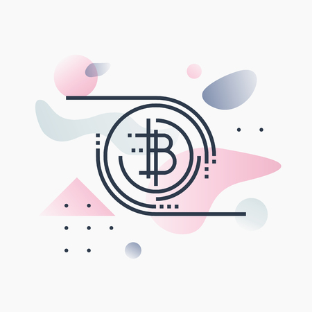 Abstract illustration concept of bitcoin technology and virtual crypto currency services. Illustration