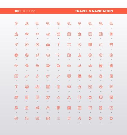 UI iconen van navigatiekaart elementen, reisgidsen en informatieve teken, route bestemming, toerisme infographics.