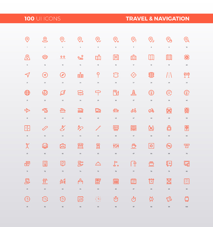 navigation icons: UI icons of navigation map elements, travel guides and informational sign, route destination, tourism infographics.