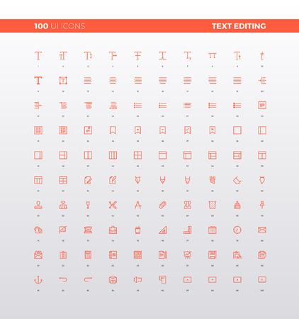 Iconos de interfaz de usuario de edición de texto y herramientas de formato, instrumentos de procesador de texto simple, alineación de fuente, elementos de barra de herramientas de menú. 32px iconos de línea simple conjunto. Símbolos de calidad superior y logotipo de la web de la muestra colección.