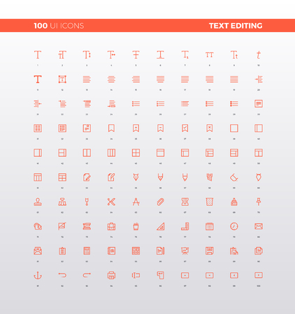 UI icons of text editing and formatting tools,  simple word processor instruments, font align, menu toolbar elements. 32px simple line icons set. Premium quality symbols and sign web logo collection.