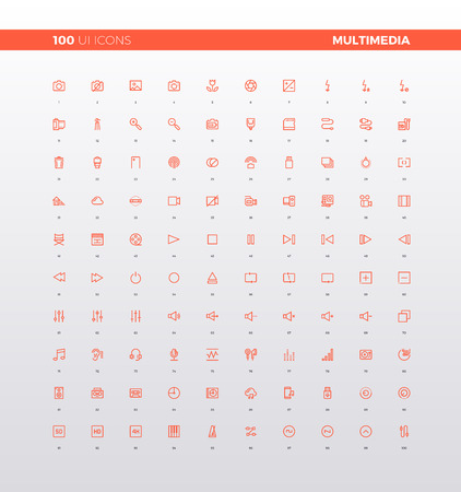phone: UI icons of multimedia elements for media presentation, audio settings, sound editor application, video camera record. 32px simple line icons set. Premium quality symbols and sign web logo collection.