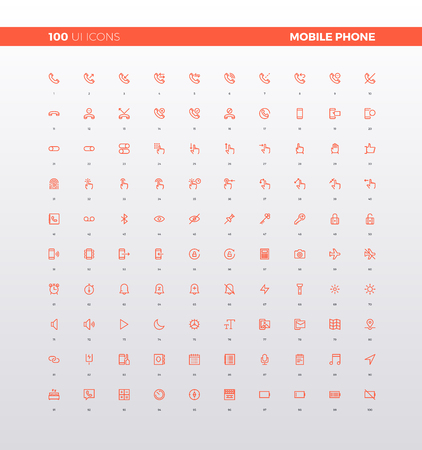 UI icons of mobile app interface menu settings, hand gesture control elements, mobile phone general information. 32px simple line icons set. Ilustracja