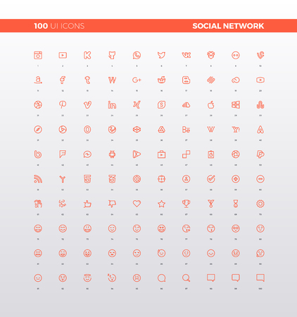 UI icons of social network logo, social media website logotypes, emoji and ideograms for social internet communication. 32px simple line icons set. Premium quality symbols and sign web logo collection.