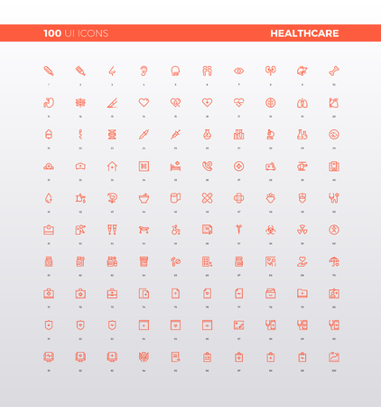 UI icons of healthcare mobile pictogram elements for smartphone app, medical center and first aid support web icons. 32px simple line icons set. Premium quality symbols and sign web logo collection.