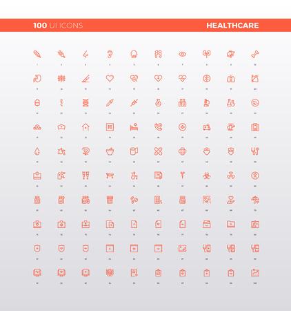 UI iconen van de gezondheidszorg mobiele pictogramelementen voor smartphone app, medisch centrum en eerste hulp web icons. 32px eenvoudige lijnpictogram set. Premium kwaliteitssymbolen en teken weblog collectie.