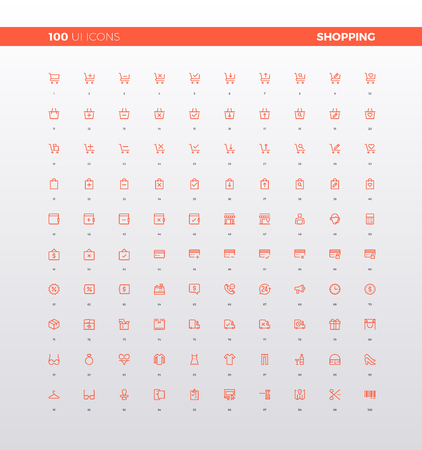 UI icons of shopping website, online market store apps pictogram, electronic commerce of internet goods and product. 32px simple line icons set. Premium quality symbols and sign web logo collection.