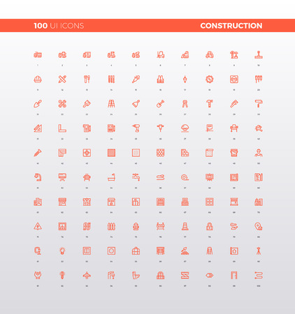 sign: UI icons of real estate building, heavy construction architecture, home renovation service, build tools and gear box. 32px simple line icons set. Premium quality symbols and sign web logo collection.