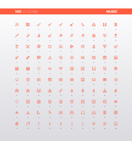 UI icons of various musical instruments, sound studio production, voice recording, audio technology devices elements. 32px simple line icons set. Premium quality symbols and sign web logo collection.