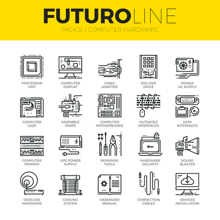 Unique thin line icons set of computer hardware and electronics parts. Premium quality outline symbol collection. Modern linear pictogram pack of metaphors. Stroke vector logo concept for web graphics. Illustration