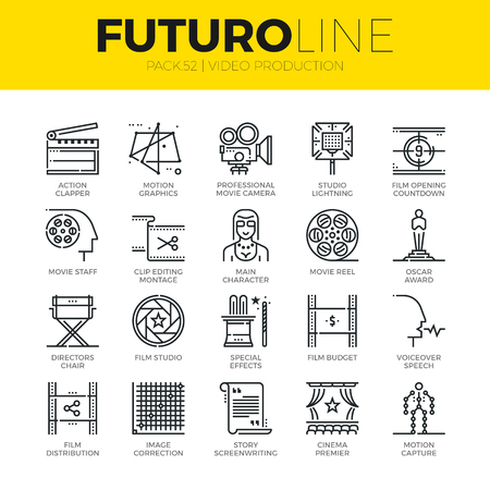 Unique thin line icons set of video studio production, motion effects. Premium quality outline symbol collection. Modern linear pictogram pack of metaphors. Stroke vector logo concept for web graphics.