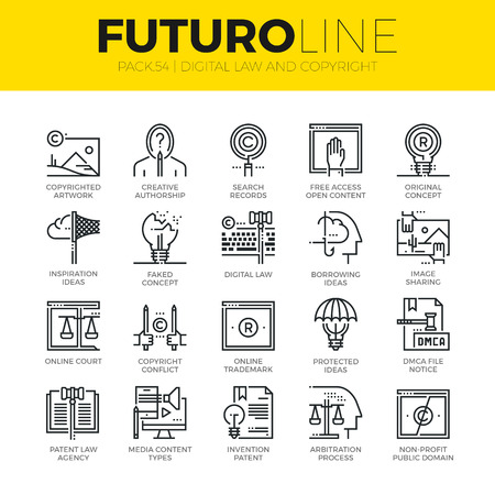 Unique thin line icons set of digital law, copyright idea problems. Premium quality outline symbol collection. Modern linear pictogram pack of metaphors. Stroke vector logo concept for web graphics. Illustration