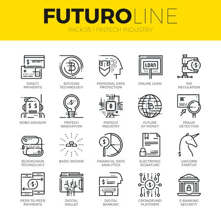 Unique thin line icons set of fintech industry, finance digitization. Premium quality outline symbol collection. Modern linear pictogram pack of metaphors. Stroke vector logo concept for web graphics. Illustration